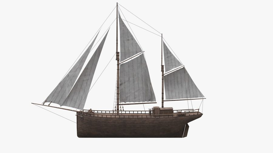 Old boat Sailboat royalty-free 3d model - Preview no. 5