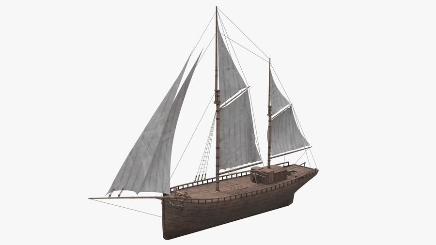 Old boat Sailboat royalty-free 3d model - Preview no. 2