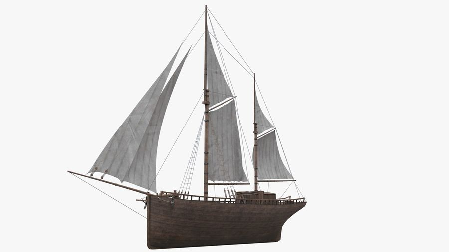 Old boat Sailboat royalty-free 3d model - Preview no. 8