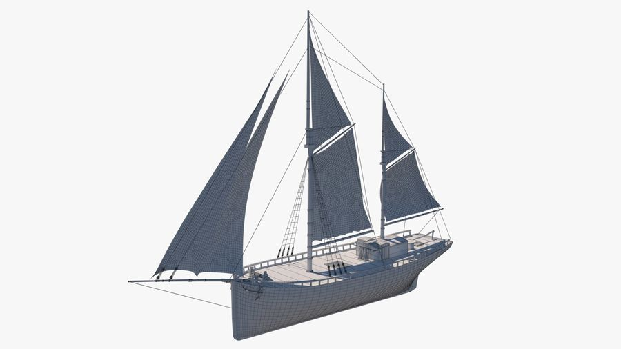Old boat Sailboat royalty-free 3d model - Preview no. 14