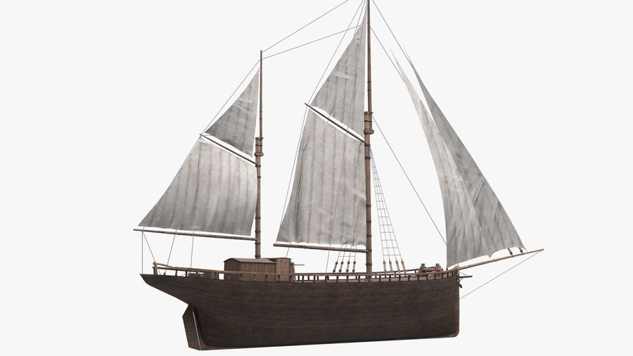 Old boat Sailboat royalty-free 3d model - Preview no. 10