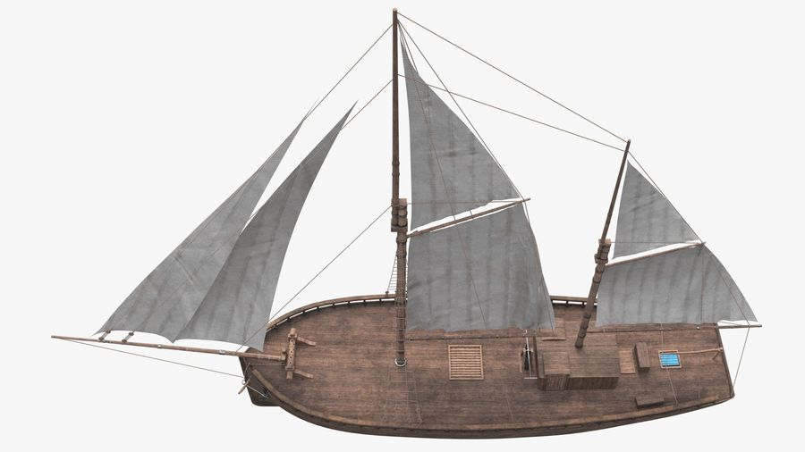 Old boat Sailboat royalty-free 3d model - Preview no. 6