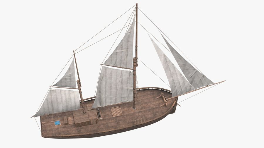 Old boat Sailboat royalty-free 3d model - Preview no. 7