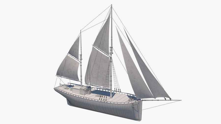 Old boat Sailboat royalty-free 3d model - Preview no. 12
