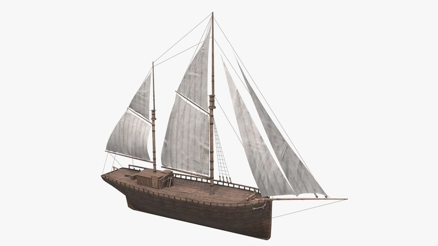 Old boat Sailboat royalty-free 3d model - Preview no. 3