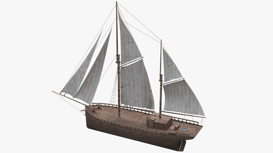 Old boat Sailboat royalty-free 3d model - Preview no. 4