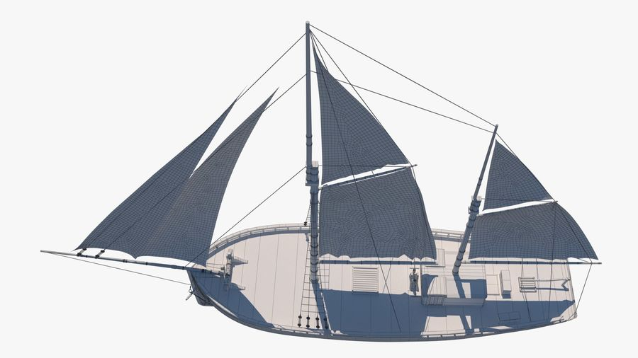 Old boat Sailboat royalty-free 3d model - Preview no. 15