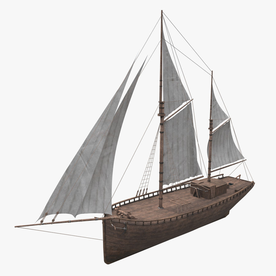Old boat Sailboat royalty-free 3d model - Preview no. 1