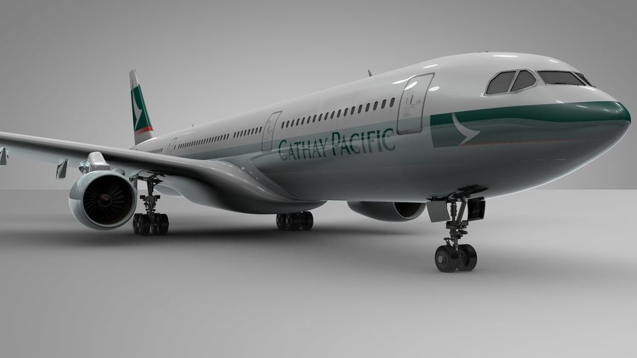 Airbus A330-300 Cathay Pacific L335 royalty-free 3d model - Preview no. 6