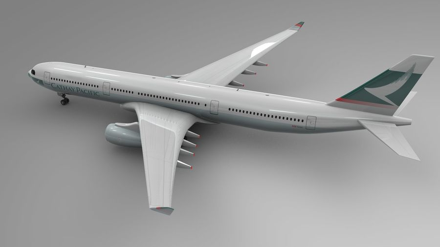 Airbus A330-300 Cathay Pacific L335 royalty-free 3d model - Preview no. 4