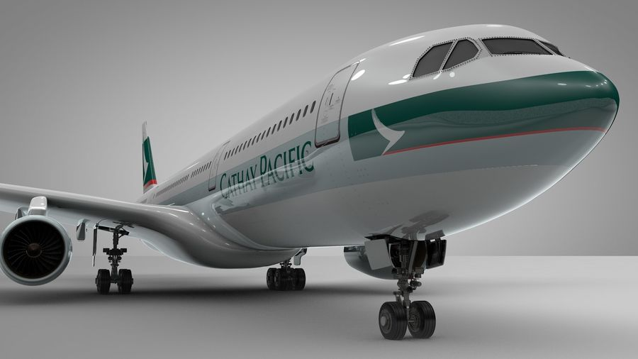 Airbus A330-300 Cathay Pacific L335 royalty-free 3d model - Preview no. 10
