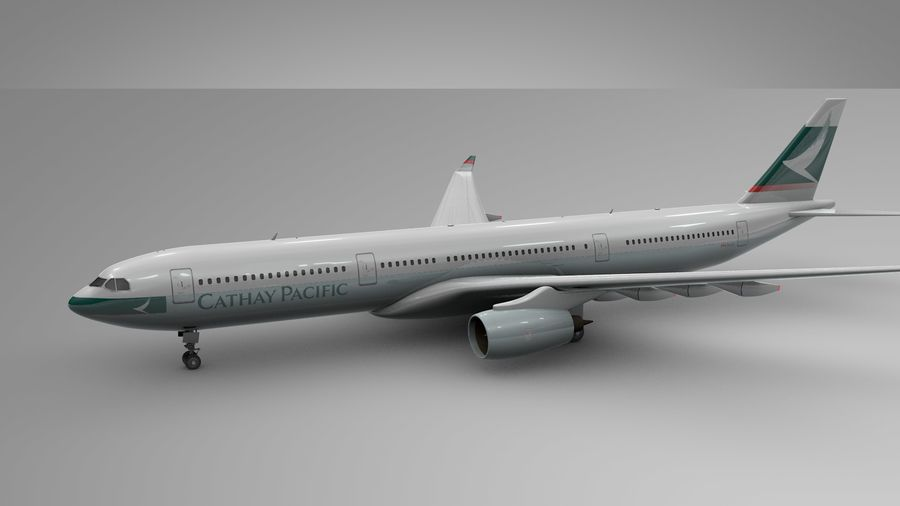 Airbus A330-300 Cathay Pacific L335 royalty-free 3d model - Preview no. 3