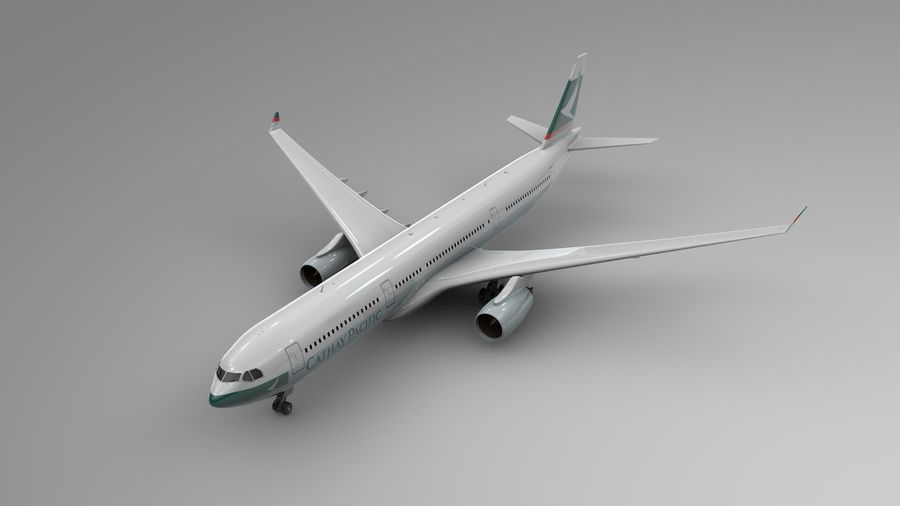 Airbus A330-300 Cathay Pacific L335 royalty-free 3d model - Preview no. 2