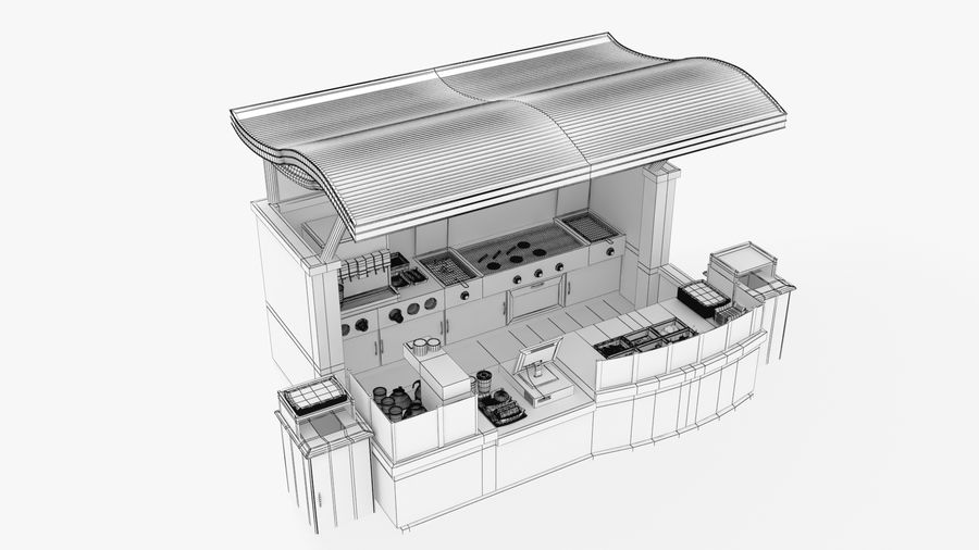 Food Stall royalty-free 3d model - Preview no. 1