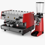 Ekspres do kawy La Pavoni BAR T - BAR T 2M i młynek do kawy Compak F10 Master Conic OD 3d model
