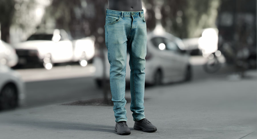 Jeans azul royalty-free modelo 3d - Preview no. 2