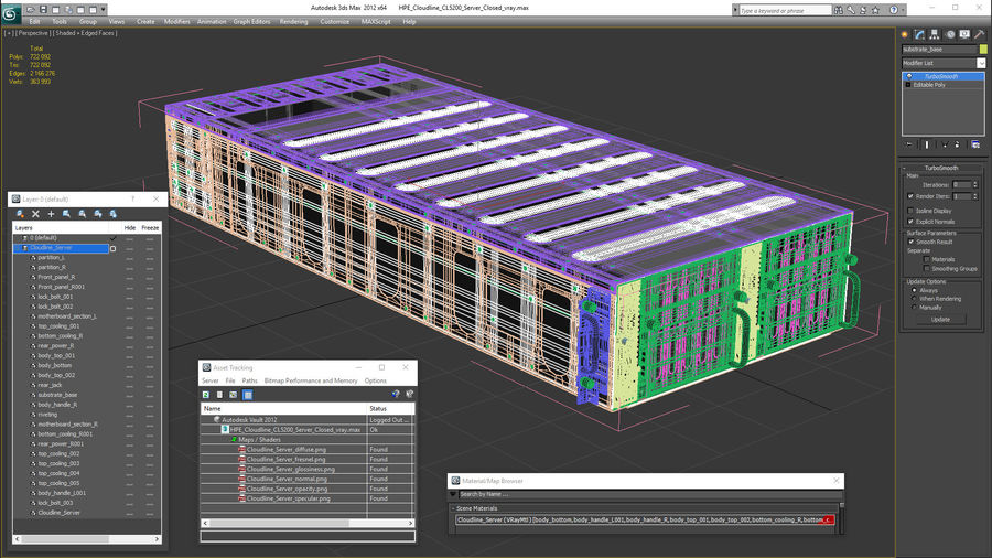 HPE Cloudline CL5200 Server Closed royalty-free 3d model - Preview no. 29