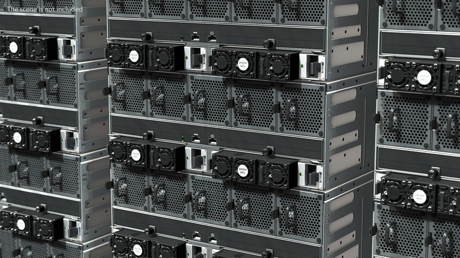 HPE Cloudline CL5200 Server Opened with Disks royalty-free 3d model - Preview no. 3