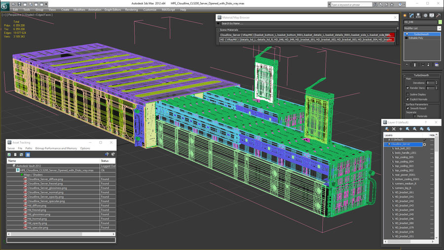 HPE Cloudline CL5200 Server Opened with Disks royalty-free 3d model - Preview no. 31
