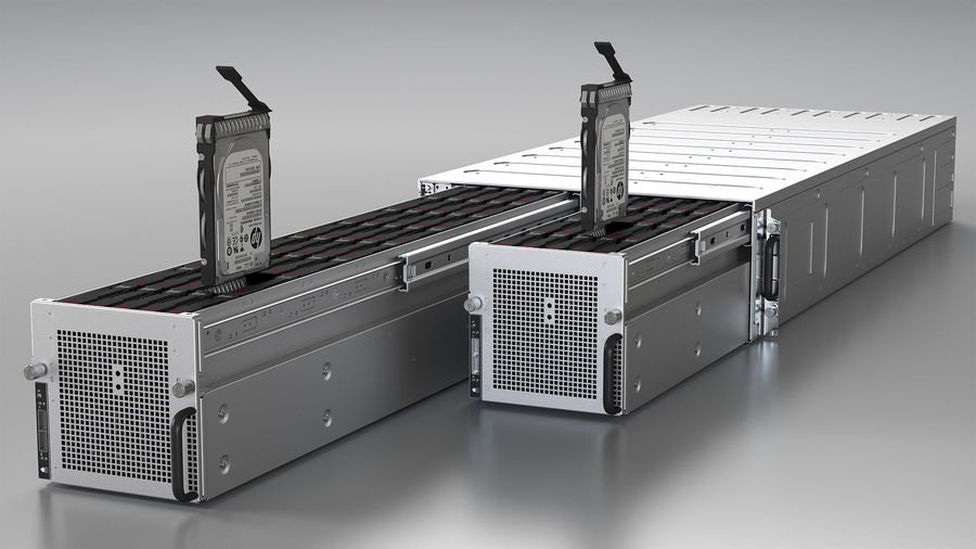 HPE Cloudline CL5200 Server Opened with Disks royalty-free 3d model - Preview no. 7