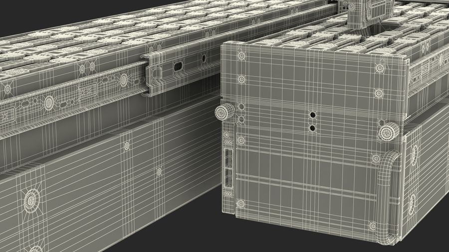 HPE Cloudline CL5200 Server Opened with Disks royalty-free 3d model - Preview no. 35