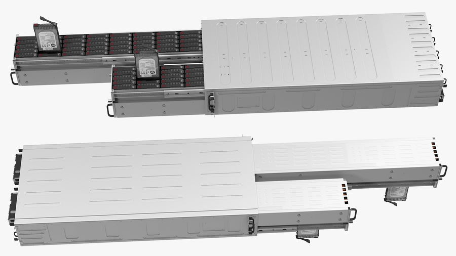 HPE Cloudline CL5200 Server Opened with Disks royalty-free 3d model - Preview no. 11