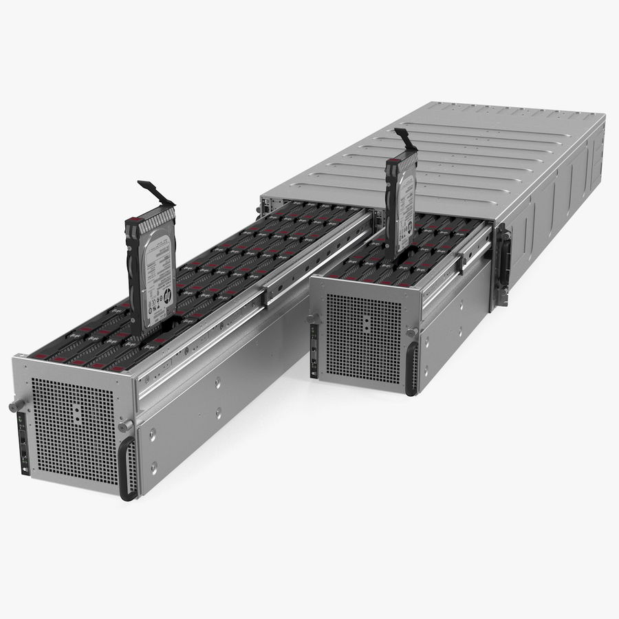 HPE Cloudline CL5200 Server Opened with Disks royalty-free 3d model - Preview no. 1