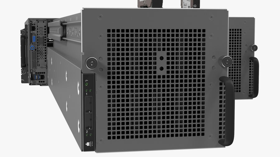 HPE Cloudline CL5200 Server Opened with Disks royalty-free 3d model - Preview no. 20