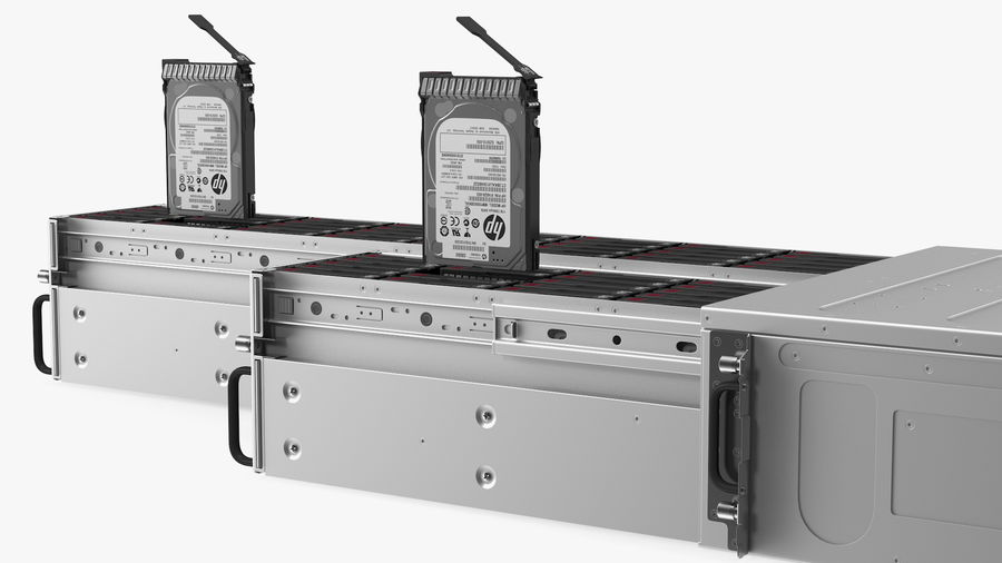 HPE Cloudline CL5200 Server Opened with Disks royalty-free 3d model - Preview no. 16