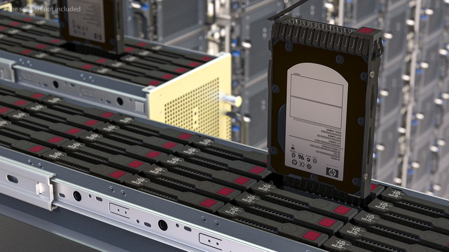 HPE Cloudline CL5200 Server Opened with Disks royalty-free 3d model - Preview no. 5