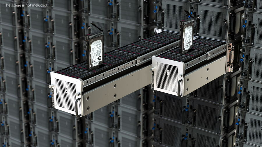 HPE Cloudline CL5200 Server Opened with Disks royalty-free 3d model - Preview no. 2