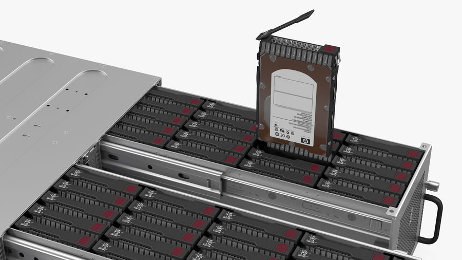 HPE Cloudline CL5200 Server Opened with Disks royalty-free 3d model - Preview no. 19