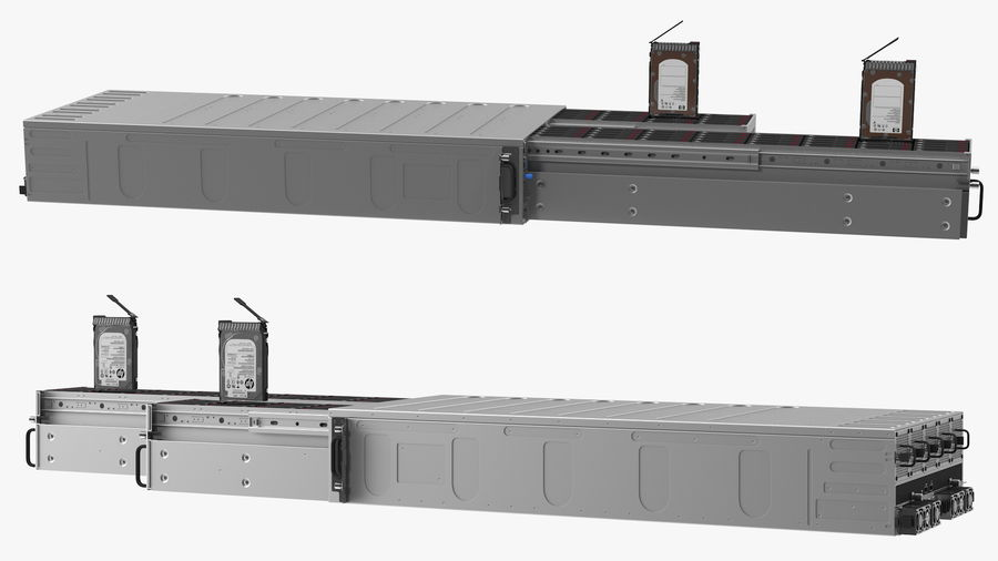 HPE Cloudline CL5200 Server Opened with Disks royalty-free 3d model - Preview no. 10