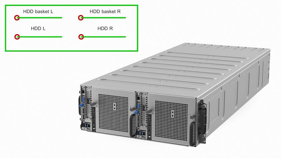 HPE Cloudline CL5200 Server with HDD Rigged royalty-free 3d model - Preview no. 3