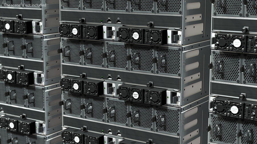 HPE Cloudline CL5200 Server with HDD Rigged royalty-free 3d model - Preview no. 11