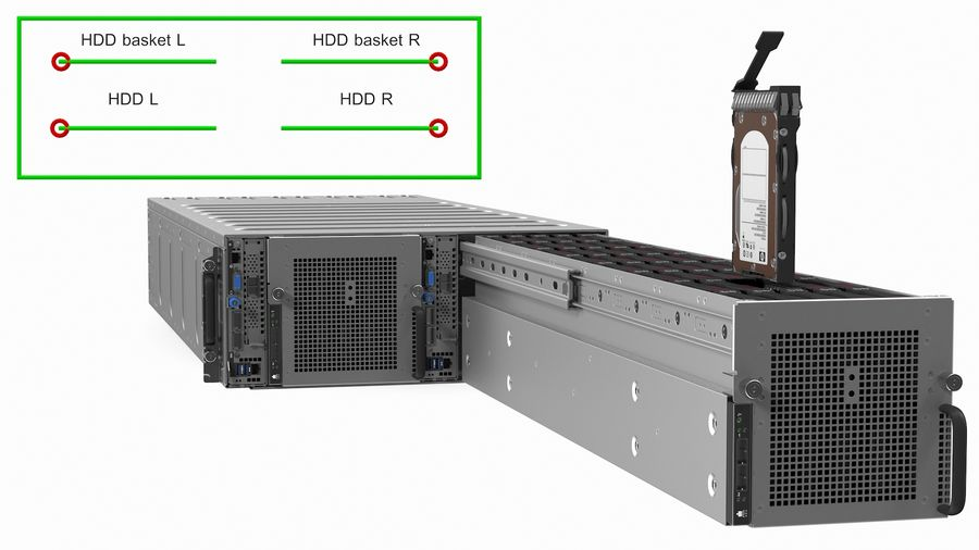 HPE Cloudline CL5200 Server with HDD Rigged royalty-free 3d model - Preview no. 5