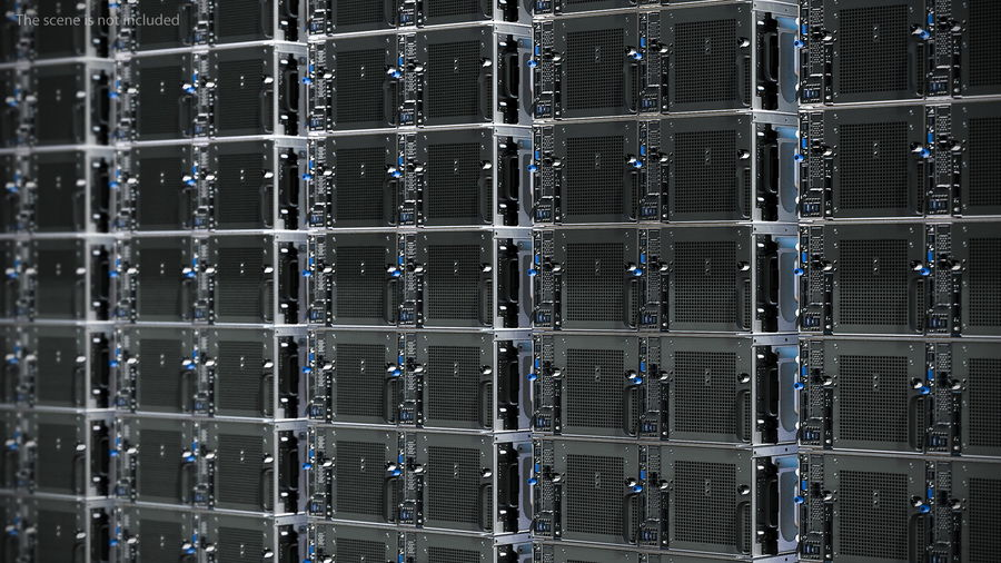 HPE Cloudline CL5200 Server with HDD Rigged royalty-free 3d model - Preview no. 6