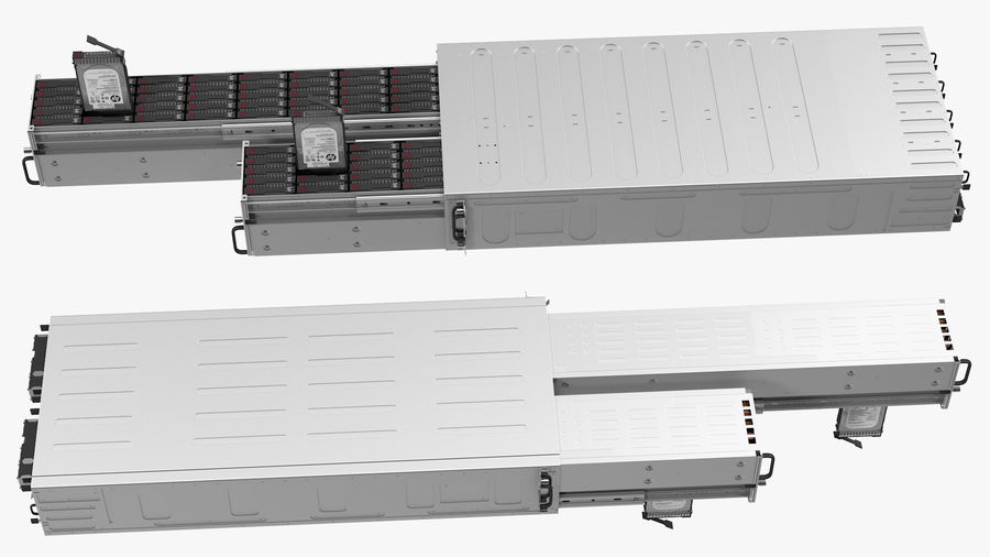 HPE Cloudline CL5200 Server with HDD Rigged royalty-free 3d model - Preview no. 17