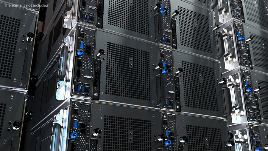 HPE Cloudline CL5200 Server with HDD Rigged royalty-free 3d model - Preview no. 7