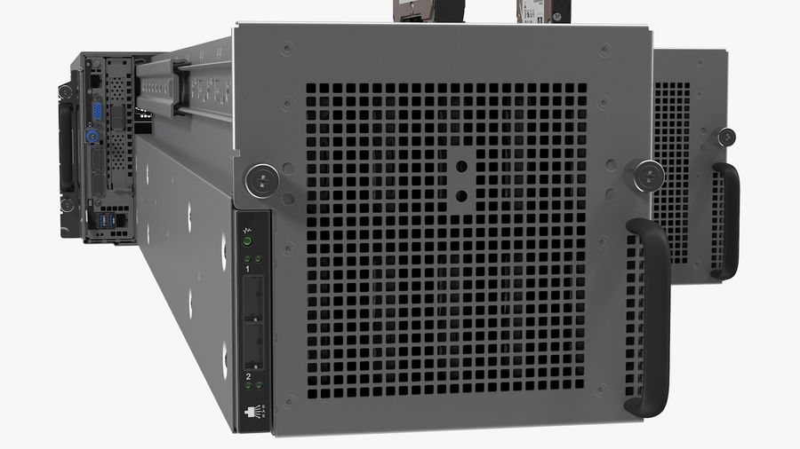 HPE Cloudline CL5200 Server with HDD Rigged royalty-free 3d model - Preview no. 31