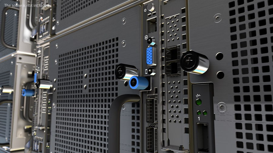 HPE Cloudline CL5200 Server with HDD Rigged royalty-free 3d model - Preview no. 8