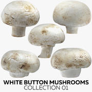 White Button Mushrooms Collection 01 3d model