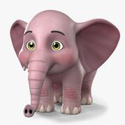 Éléphant de dessin animé 3d model