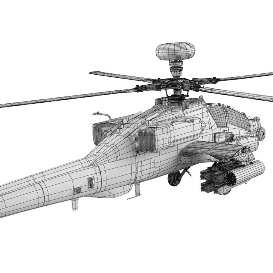 AH Apache Attack Helicopter modèle 3D royalty-free 3d model - Preview no. 5