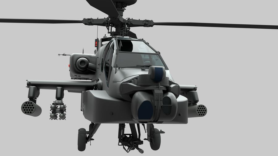AH Apache Attack Helicopter modèle 3D royalty-free 3d model - Preview no. 2