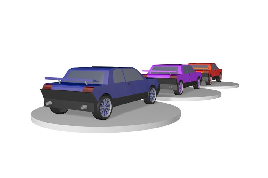 Voiture basse royalty-free 3d model - Preview no. 7