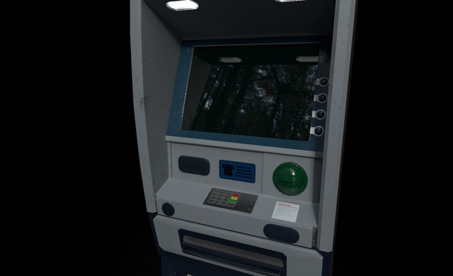 ATM Cash Machine Gameready royalty-free 3d model - Preview no. 8