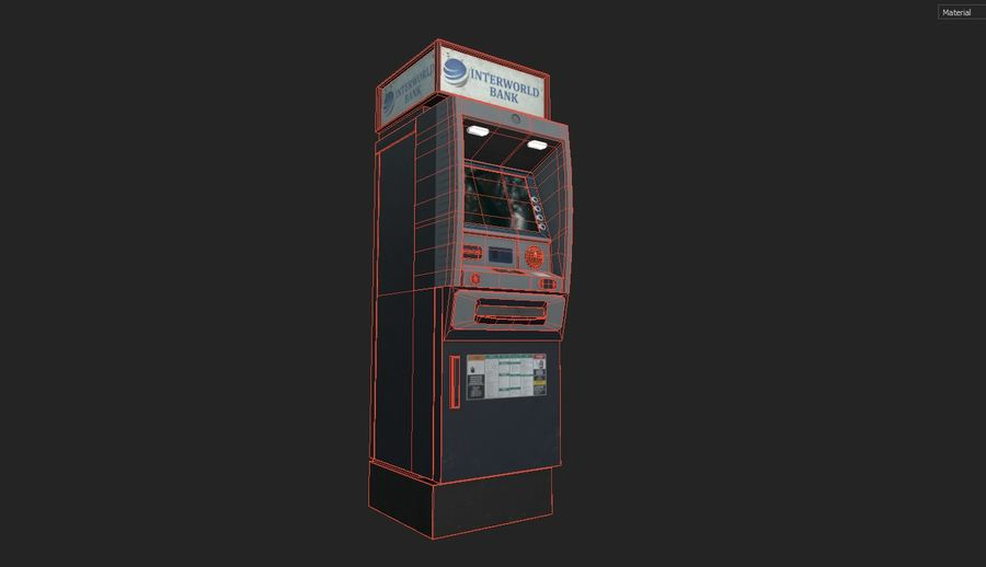 ATM Cash Machine Gameready royalty-free 3d model - Preview no. 10