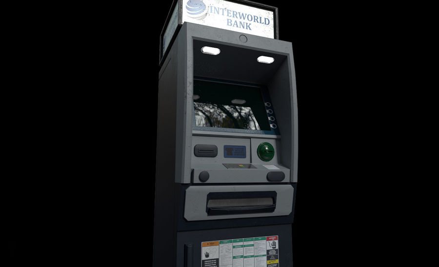 ATM Cash Machine Gameready royalty-free 3d model - Preview no. 7