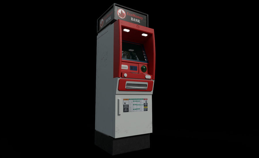 ATM Cash Machine Gameready royalty-free 3d model - Preview no. 4